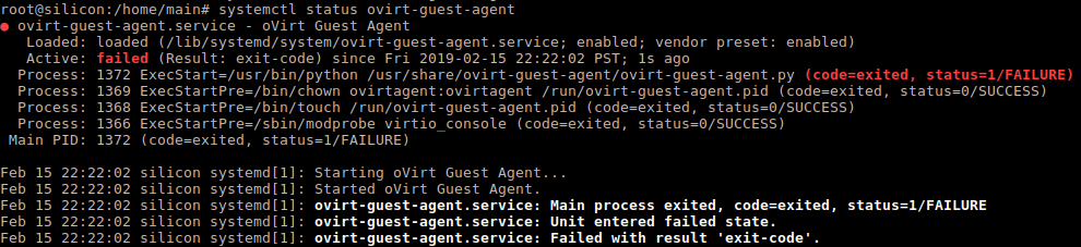 ovirt-guest-agent.py exited status 1/FAILURE