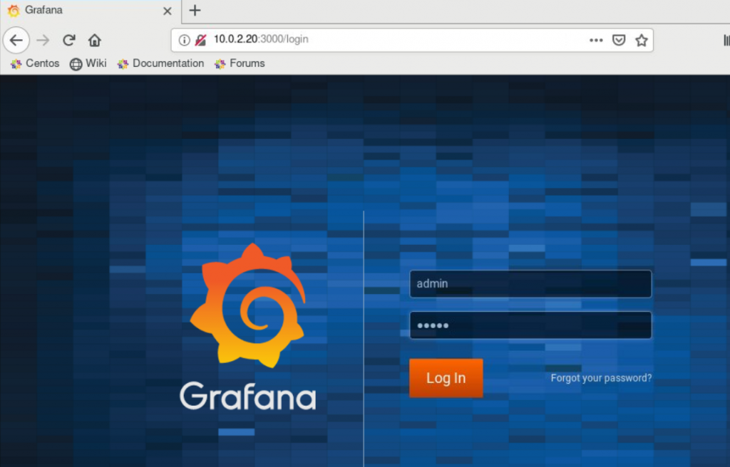 Grafana sign in page